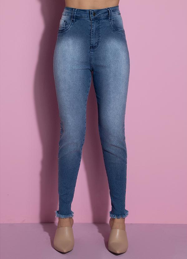 Calça com Termocolantes nas Laterais (Jeans)