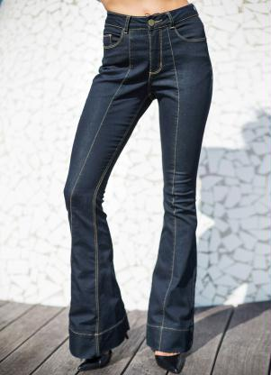 Calça Jeans Flare (Azul Escuro)