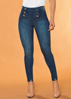 Calça Hot Pants com Botões Sawary (Jeans)
