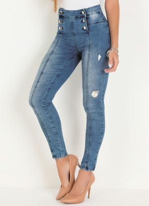 Calça Hot Pants Sawary (Jeans Clara) com Botões