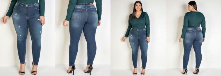 Calça Jeans Cigarrete com Puídos Sawary