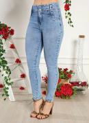 Calça Jeans Clara Cigarrete com Puídos Sawary