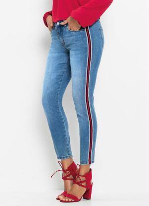 Calça Jeans com Listra Lateral (Azul Claro)