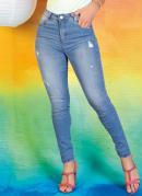 Calça Jeans Compressora Skinny com Puídos Sawary