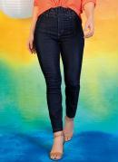 Calça Jeans Escura Super Lipo com Cinto Sawary
