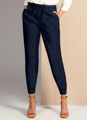 Calça (Jeans Escuro) com Elástico na Cintura