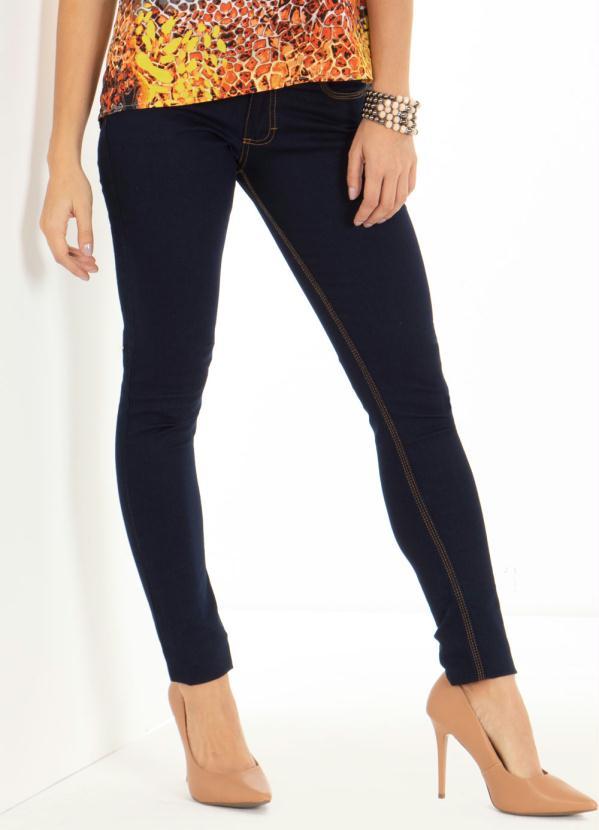 Calça (Jeans Escuro) Skinny com Bolsos