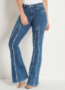 Calça Jeans Flare com Desfiados Sawary