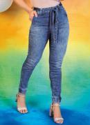 Calça Jeans Jogger com Faixa Grátis Sawary