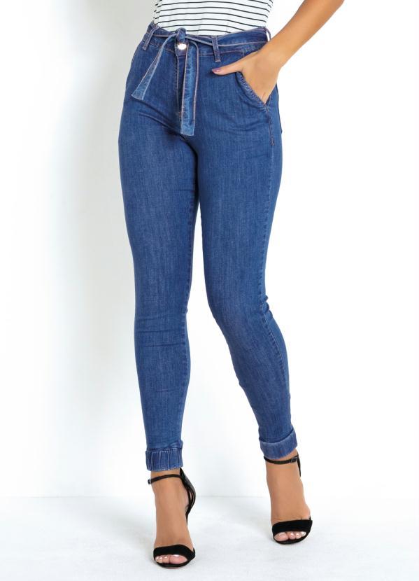 Calça (Jeans) Jogger Cropped Sawary com Amarração