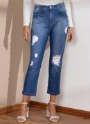 Calça Jeans Médio Cigarrete com Rasgados
