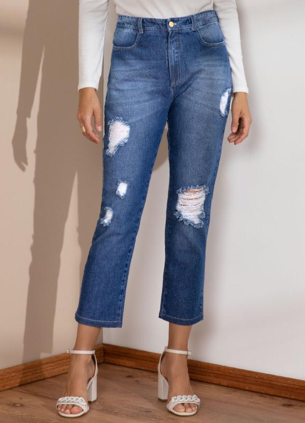 Calça (Jeans Médio) Cigarrete com Rasgados
