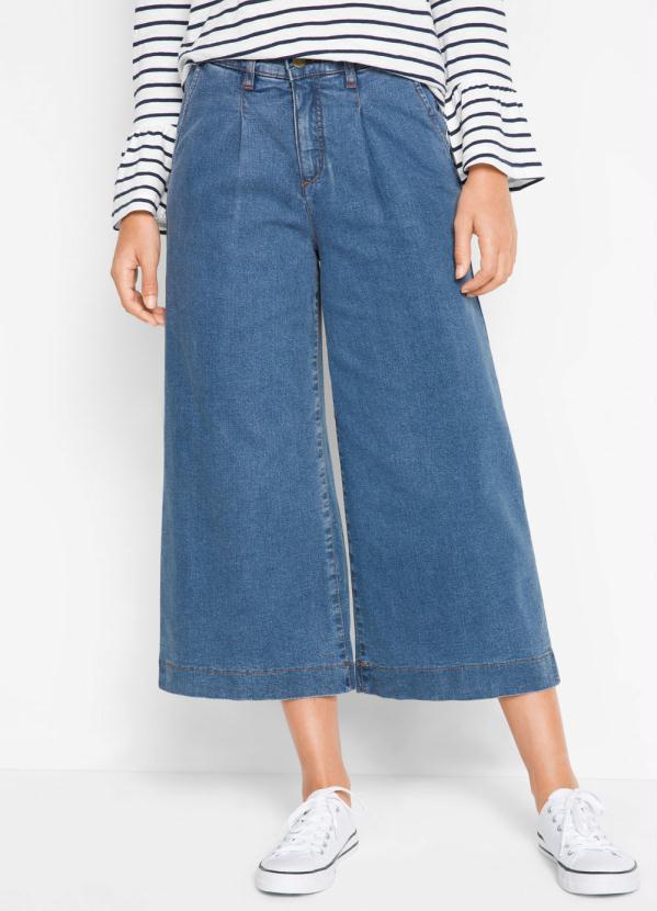 Calça Jeans Pantacourt (Azul Médio)