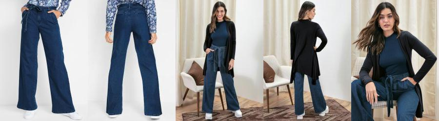 Calça Jeans Pantalona Clochard Azul Médio