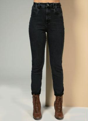 Calça (Jeans Preta) com Elástico na Lateral