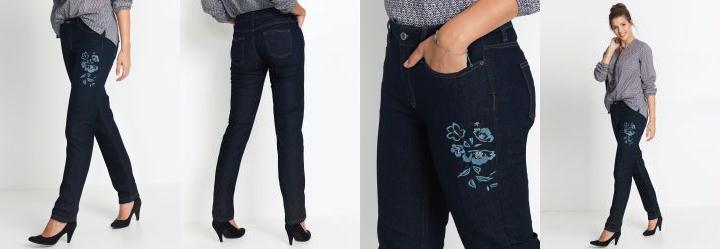 14745d64a Score  0.0 Calça Jeans Reta com Bordados Azul Médio