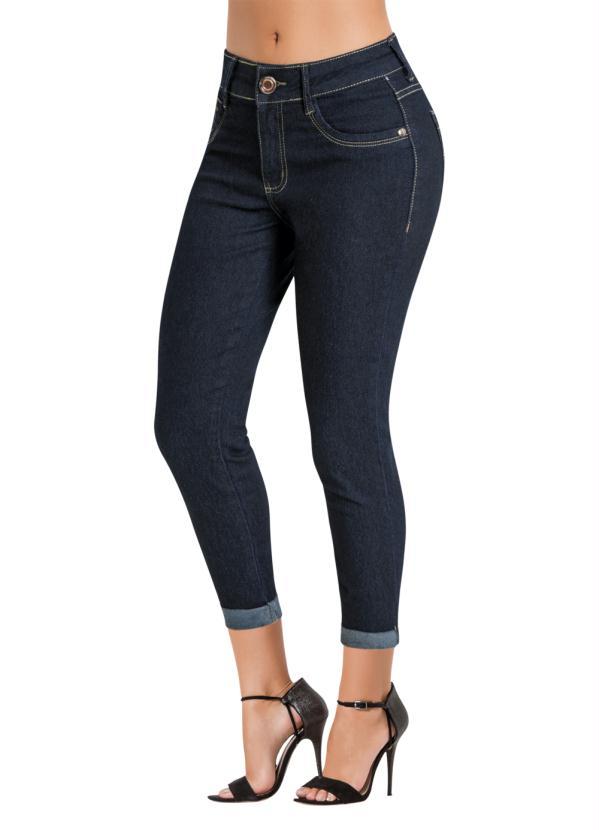 Calça Jeans Sawary (Azul Escura) Modelo Cropped