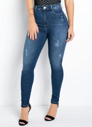 Calça (Jeans) Sawary Skinny 360° com Cinta e Puídos