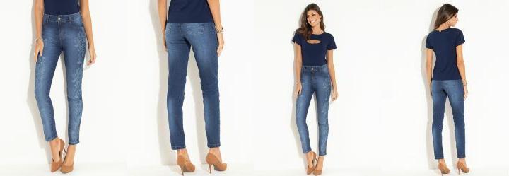 f07f4ec6c Score  0.0 Calça Jeans Skinny Azul com Estampa
