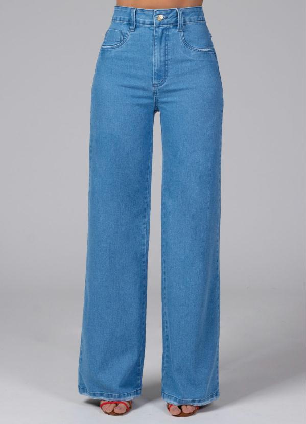 Calça Pantalona com Bolsos (Jeans Claro)