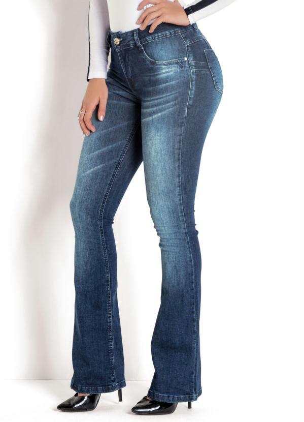 Calça Sawary Flare Cintura Intermediária (Jeans)