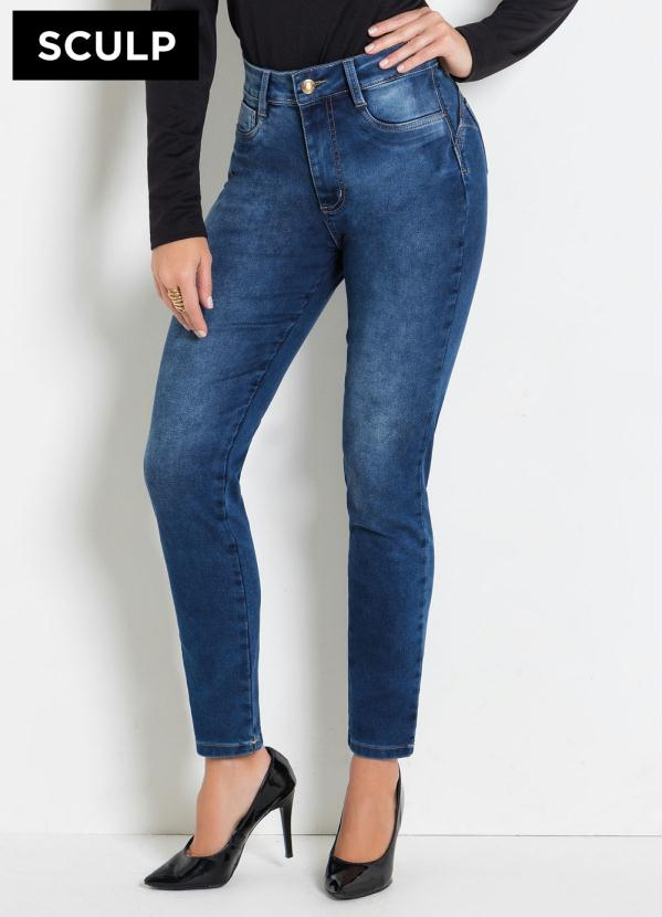 Calça Sculp (Jeans) Cigarrete com Cinta e Bumbum