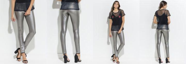 Calça Legging Metalizada Prata Quintess