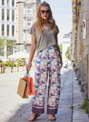 Calça Cintura Alta Pantalona Floral Bege