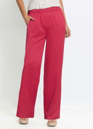 Calça Pantalona Acetinada (Rosa Pink)