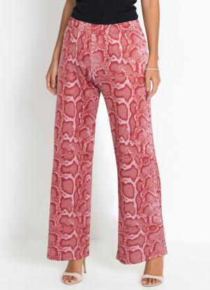 Calça Pantalona Animal Print (Cobra Rosa)