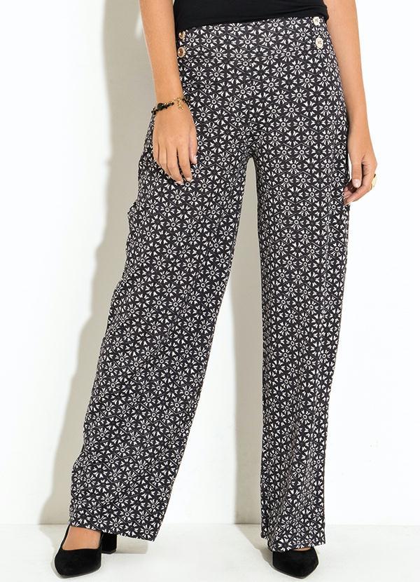 Calça Pantalona (Brocado Preto e Branco) Quintess