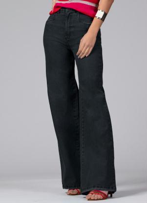 Calça Pantalona com Bolsos (Jeans Preto)