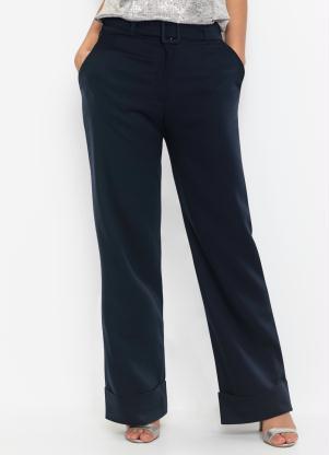 Calça Pantalona com Cinto (Azul Marinho)