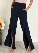 Calça Pantalona com Fenda Frontal Marinho