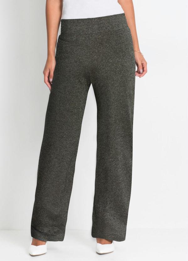 Calça Pantalona com Fio Metálico (Preta e Prata)
