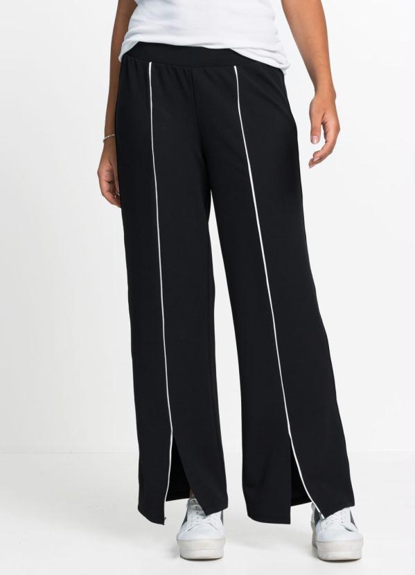 Calça Pantalona com Listra Frontal (Preta)