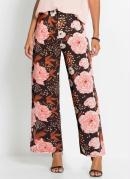 Calça Pantalona Estampada Floral Preta