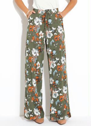 Calça Pantalona (Floral Verde) Cintura Alta