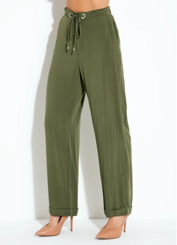 Calça Pantalona (Verde) com Ilhós e Bolsos