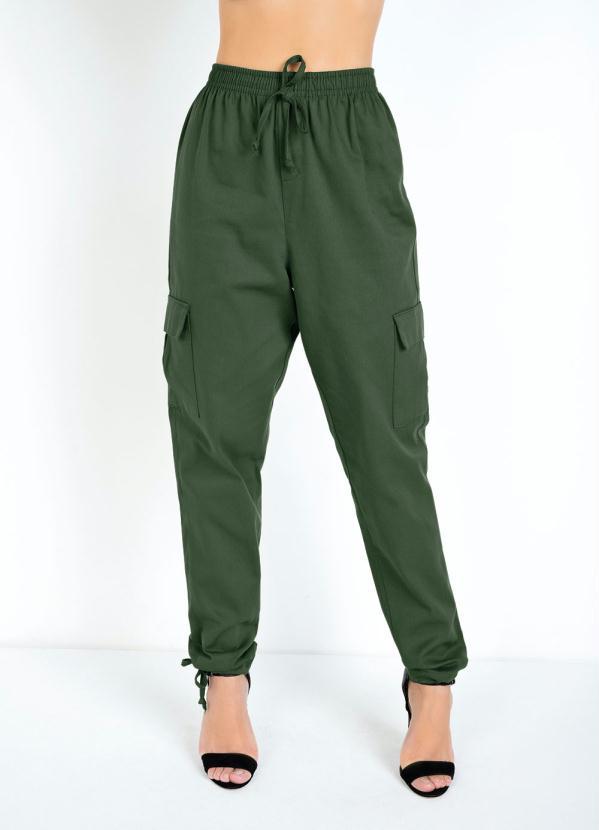 Calça com Bolsos Laterais e Amarrações (Verde)