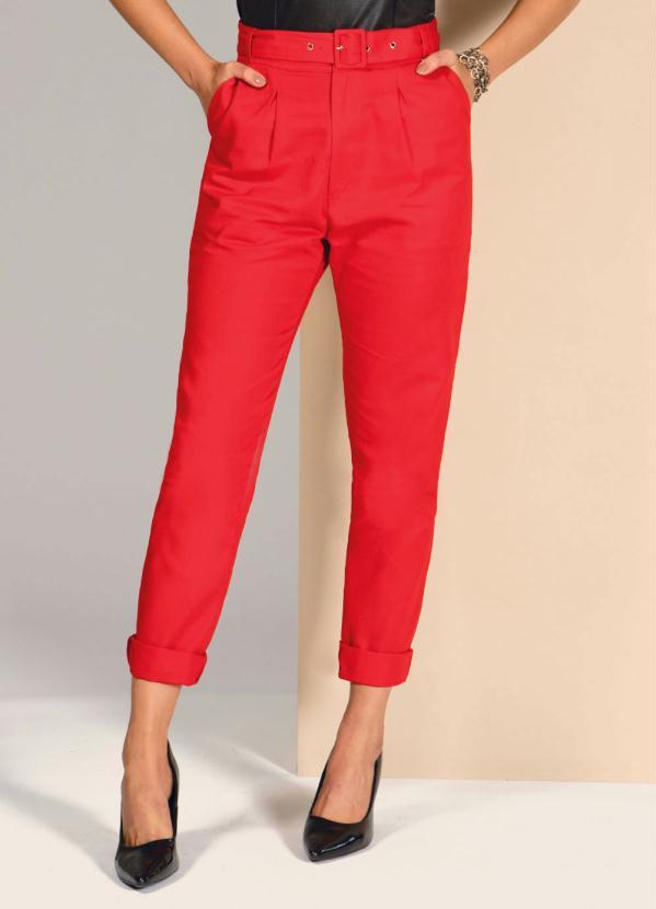 Calça (Vermelha) Reta com Cintura Alta e Cinto
