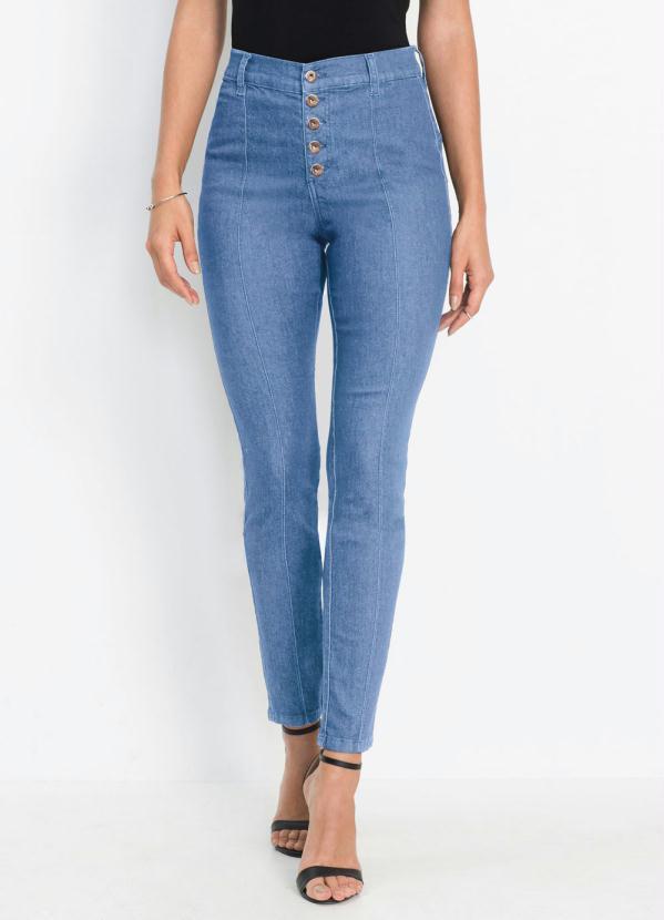 Calça Jeans Skinny com Recortes (Azul Médio)