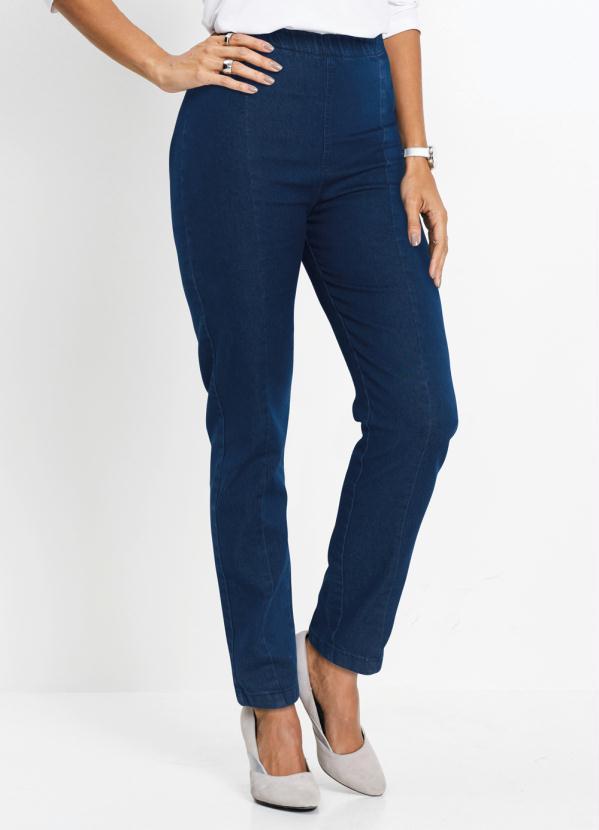 Calça Skinny Jeans com Recortes (Azul Médio)