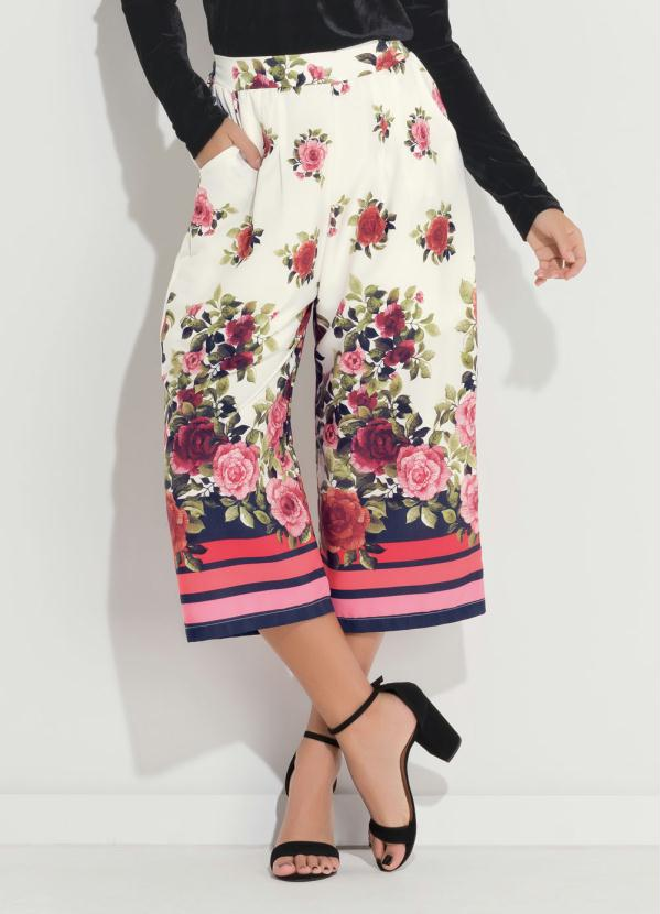 Calça Pantacourt (Floral) com Bolsos