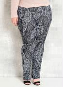 CALÇA RETA (ESTAMPA GEOMÉTRICA) PLUS SIZE QUINTESS