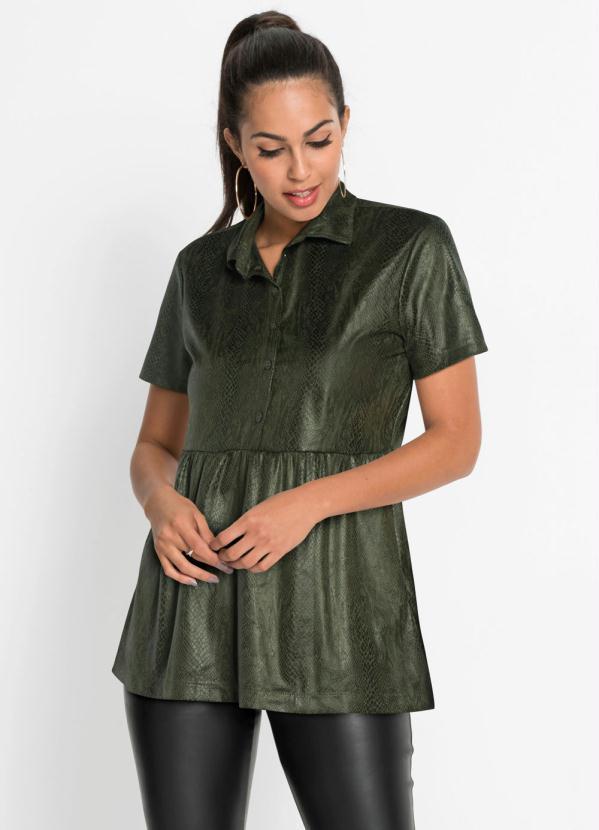Camisa de Suéde Animal Print (Cobra Verde)