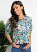 Camisa Floral Verde com Gola e Botões