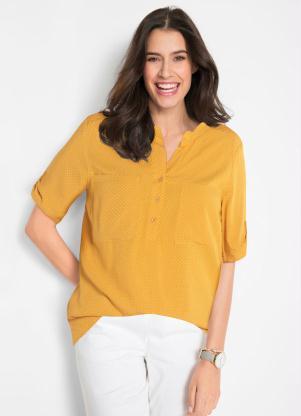 Camisa Gola Padre e Bolsos (Poá Amarela Mostarda)