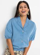 Camisa Jeans com Botões Azul Claro