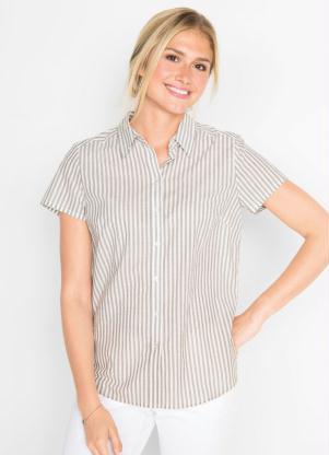 Camisa Manga Curta (Listrada Cinza)